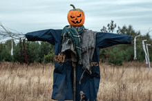 A Scary Scarecrow With A Hallo...