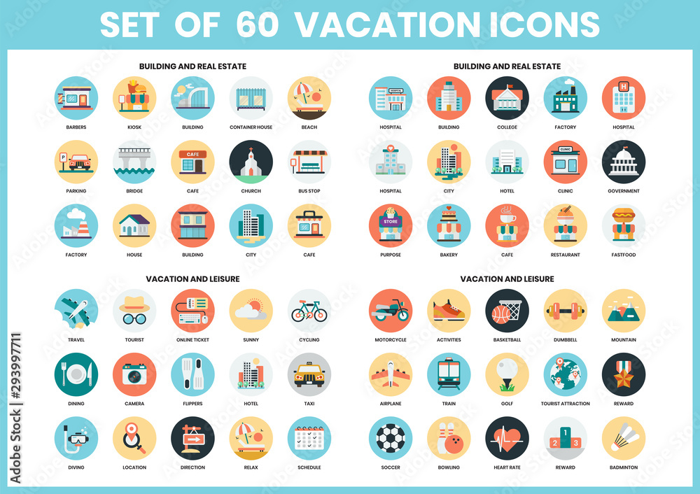 Fototapeta Vacation icons set for business