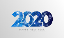 Happy New Year 2020 Text Design. Vector Illustration.