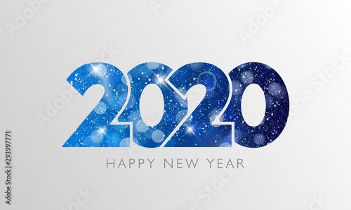 Fototapeta Happy New Year 2020 text design. Vector illustration. obraz