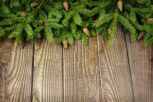 Sprigs of Christmas tree and cones . Wallpaper Mural