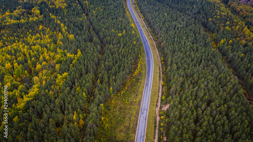 Fotobehang Weg in bos Aerial view of a car on the road. Autumn landscape countryside.