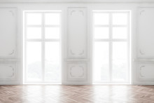 Empty White Room Interior With...