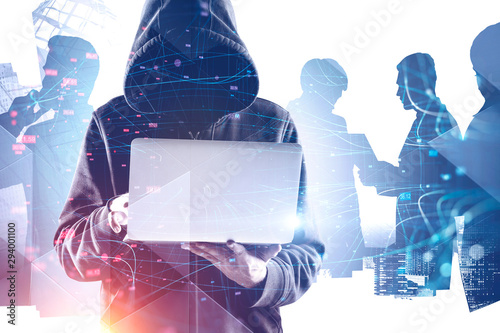 Fotomural Hacker in hoodie in city, business people