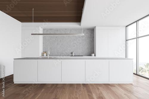 Fototapeta White and wooden kitchen with countertops obraz na płótnie