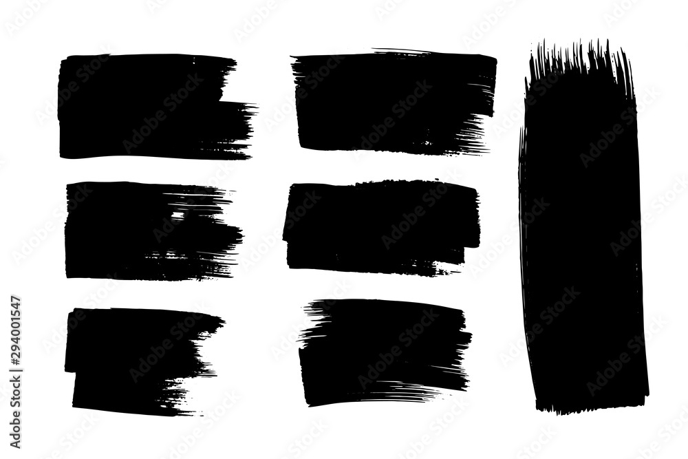 Fototapety, obrazy: Grunge brush strokes, lines. Black design elements, artistic shapes, art objects. Dirty background. Abstarct texture.