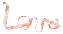 Pink Ribbon Curl Isolated On White Background.  Ribbon Bow And Curl Isolated On White Background. Love And Heart From Ribbon. Love Theme