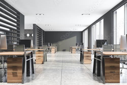 Fototapeta Gray consulting company open space office obraz