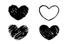 Black Grunge Textured Heart. H...