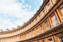 The Circus - The Iconic British Style Architecture Buildings.The Historic Street Of Large Townhouses In The City Of Bath.