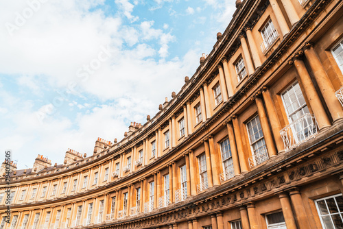 Staande foto Oude gebouw The Circus - the iconic British style architecture buildings.The historic street of large townhouses in the city of Bath.