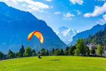 Paraglider In Interlaken, Swit...