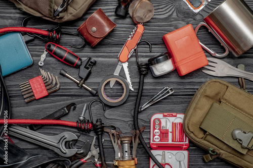A set of tools for cycling and hiking Wallpaper Mural