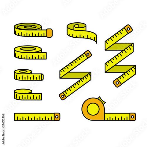 Stampa su Tela Tape measure icons - set of measuring tapes and ruler reels, centimeter bobbin