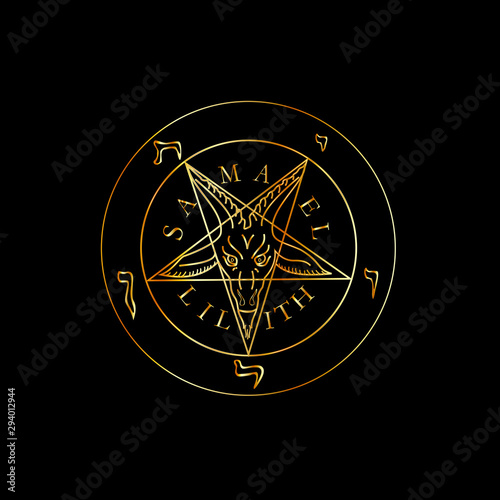 Photo Wiccan symbol golden Sigil of Baphomet- Satanic god occult symbol