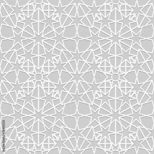 Fototapeten Künstlich Arabic seamless pattern. Islamic background. Geometric muslim ornament backdrop. White on gray color palette. Traditional arab wallpaper.