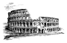 Colosseum, An Illustration Of The Roman, Vintage Engraving.