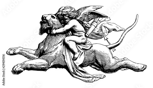 Tableau sur Toile Sculpture depicts a cupid on a panther, vintage engraving.