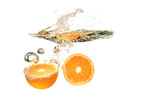 Two Orange fruits dropped into water splash on white background