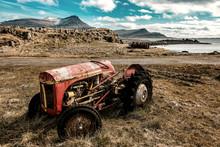 Old Small Broken Tractor.
