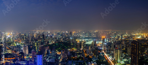 Beautiful panorama cityscape Bangkok skyline in night time,Many hotel, temple and height building for business stand in the heart of Bangkok,Thailand Wallpaper Mural