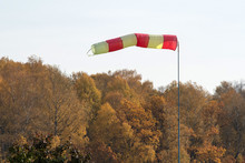Wind Direction And Speed. Windsock On The Background Of Autumn Forest.