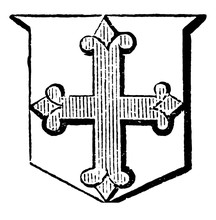 Cross Flory Are More Used As A Charge In A Coat Of Arms, Vintage Engraving.