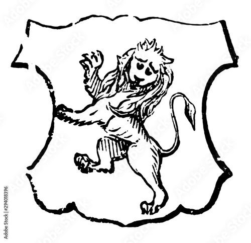 Fototapeta Lion Rampant Gardant is traditionally symbolizes bravery, vintage engraving