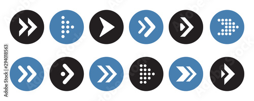Obraz Set of arrows collection in circles on a white background for website design - fototapety do salonu