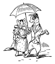 Dog & Cat Dressed With Umbrella, Vintage Illustration