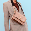 canvas print picture Checkered vintage suit and stylish accessories clutch