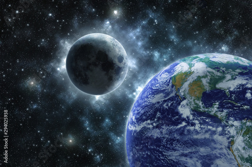 Fototapety, obrazy: Moon and the Earth Elements of this image furnished by NASA