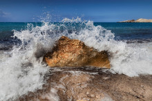 A Wave Caught As It Crashes Ov...