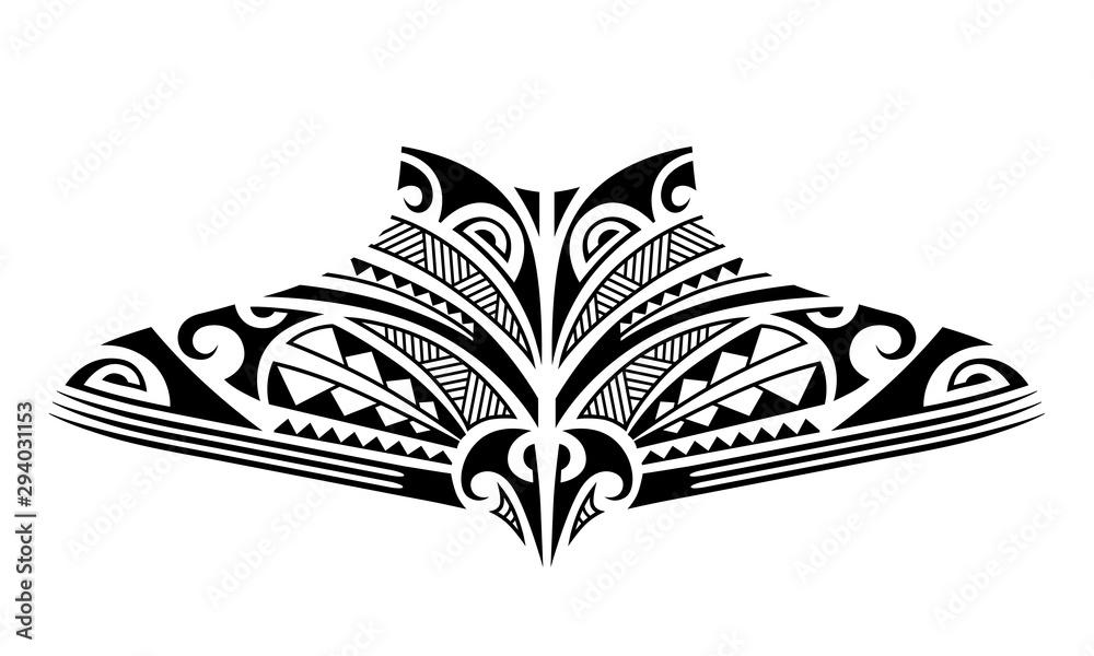 Fototapeta Maori tattoo sketch. Tribal ethno style tattoo for neck, back, chest.