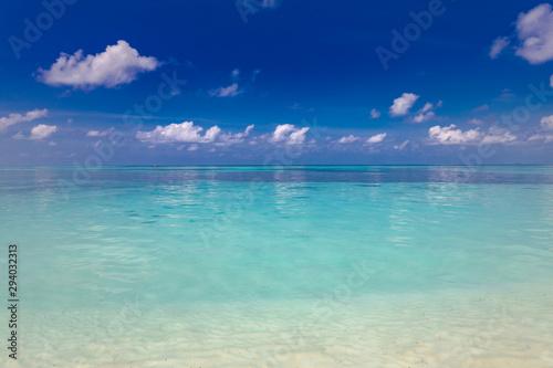 Clear aqua blue sea water and white sand beach. Exotic sea view Poster Mural XXL