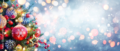 Fototapety, obrazy: Christmas Tree With Ornament And Bokeh Lights In Snowy Background