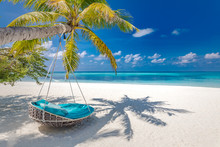 Summer Beach Background As Summer Landscape With Beach Swing Or Hammock And White Sand And Calm Sea For Beach Banner. Perfect Beach Scene Vacation And Summer Holiday Concept. Boost Up Color Process