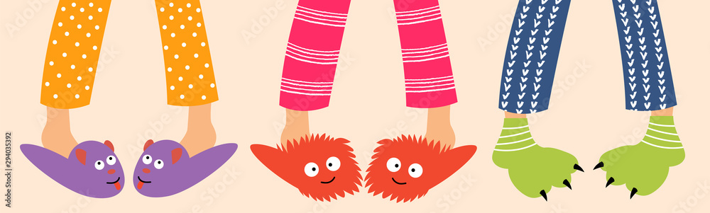 Fototapety, obrazy: Children's feet in funny slippers. Children in pajamas spend the night with friends. Pajama party. Vector editable illustration