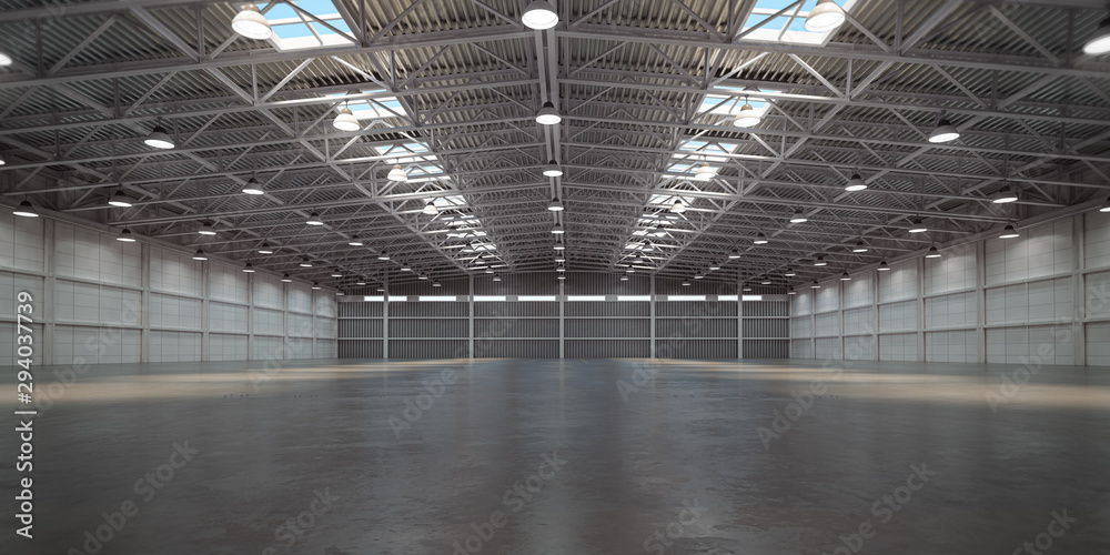 Fototapeta Empty warehouse interior. Storehouse building or storage room.