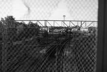 Black And White Image Of Rail ...