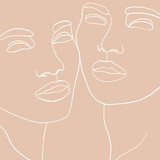 Abstract faces one line drawing. Continuous line, drawing of beauty faces of two womans. Portret minimalist style. Fashion concept, beauty minimalist, one line vector illustration - 294039334