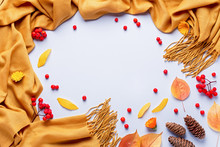 Autumn Composition With Cozy Yellow Scarf Or Blanket, Leaves, Red Berries On Pastel Background, Copy Space. Autumn Background Flat Lay In Yellow And Red Colors