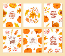 Set Of Happy Thanksgiving Cards.