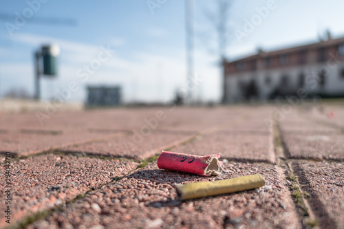 Fotografie, Obraz  Old firecrackers exploded