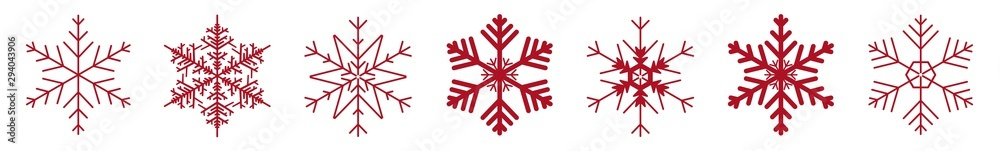 Fototapeta Snowflakes Red | Snowflake Icon | Christmas Logo | Ice Crystal Winter Symbol | Xmas Sign | Variations
