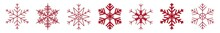 Snowflakes Red | Snowflake Icon | Christmas Logo | Ice Crystal Winter Symbol | Xmas Sign | Variations