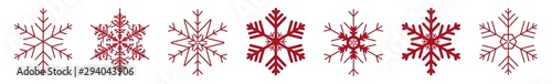 Fototapeta Snowflakes Red | Snowflake Icon | Christmas Logo | Ice Crystal Winter Symbol | Xmas Sign | Variations obraz