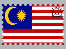 Malaysia National Flag With Inside Postage Stamp Isolated On Background. Original Colors And Proportion. Vector Illustration, From Countries Flag Set