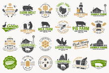 American Farm And Honey Bee Farm Badge Or Label. Vintage Typography Design With Bee, Honeycomb Piece, Hive, Chicken, Pig, Cow And Farm House Silhouette. Elements On The Theme Farm Business.