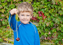 Cute Young Boy Holding Up A Conker On A String In Autumn/fall